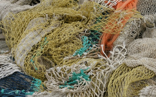 pile of tangled fishing nets