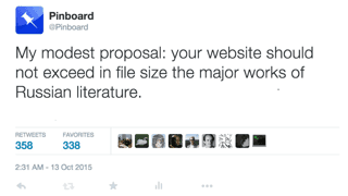 float-right Twitter tweet about page bloat