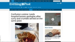 """float-right Yorkshire Evening Post - """"Leeds Hospital Bosses Apologise After Curry and Crumble On The Same Plate"""""""